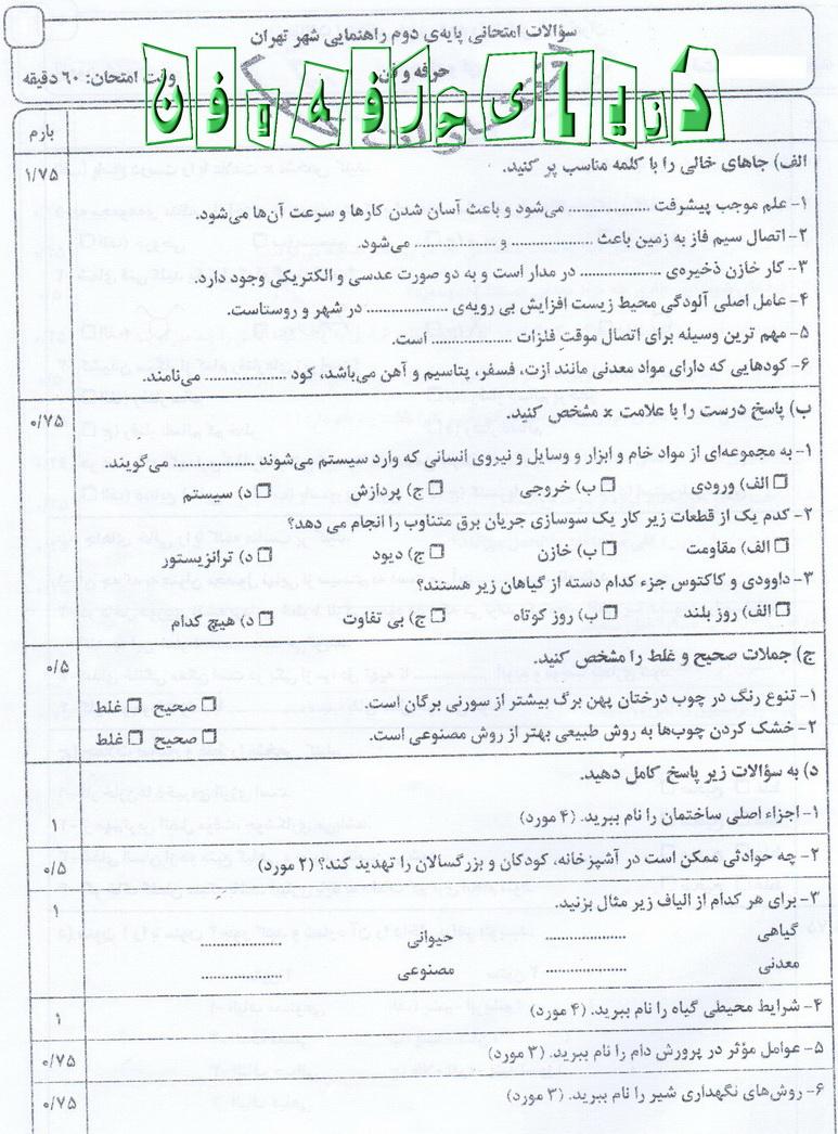 شیرینی حرفه فن دوم راهنمایی تاريخ : جمعه ۲۶ خرداد ۱۳۹۱ | | نویسنده : محسن سالاری